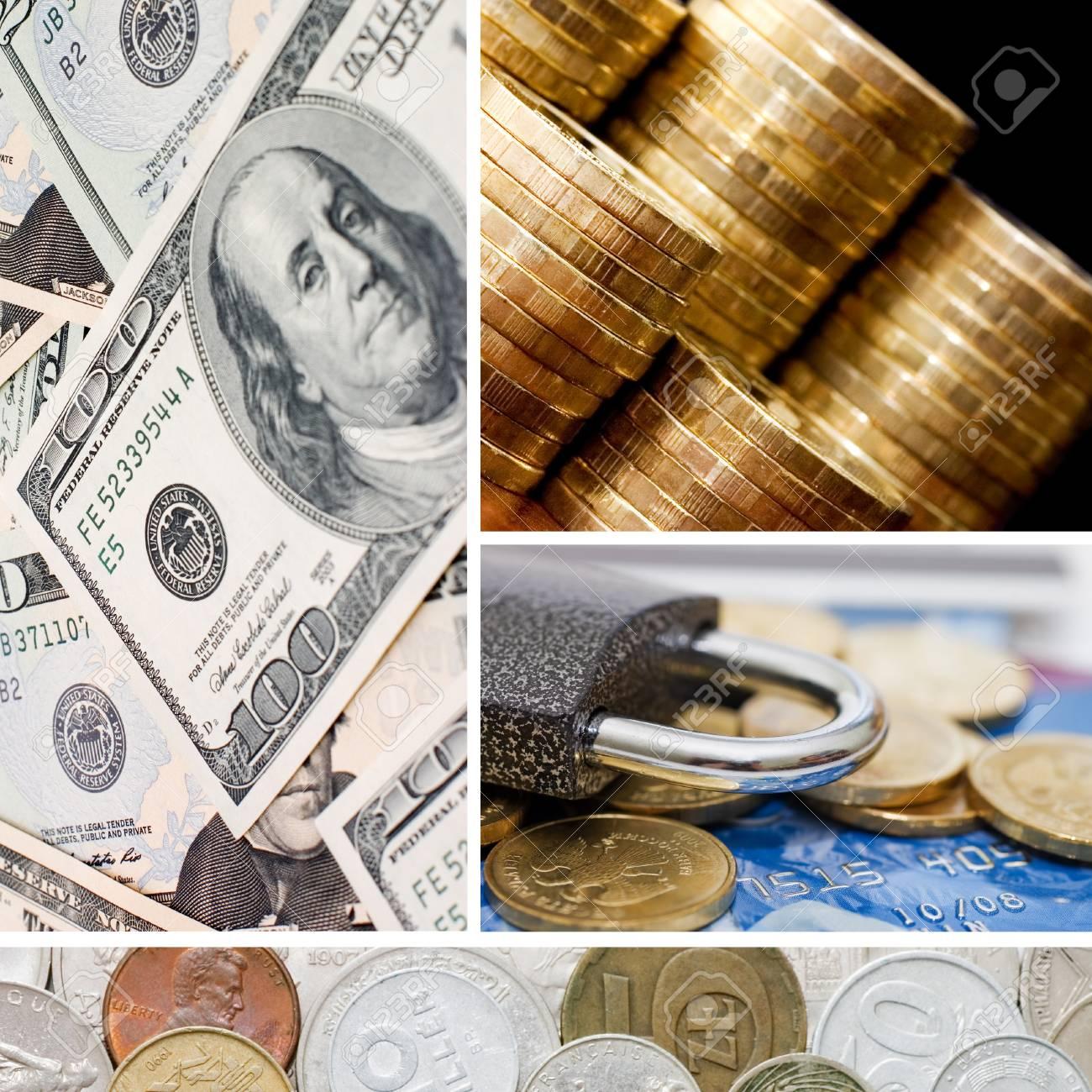 Gold Und Alte Münzen Eine Collage Lizenzfreie Fotos Bilder Und