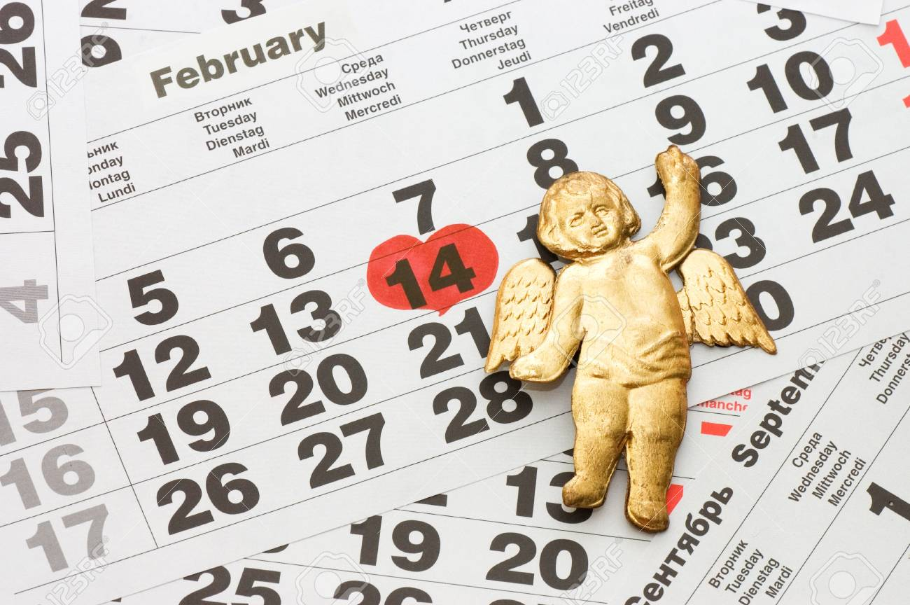 Sheet of wall calendar with red mark on 14 February - Valentines day Stock Photo - 8596582