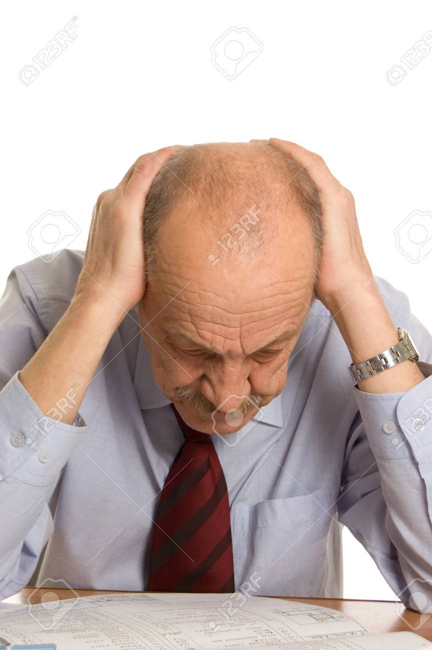 businessman keeps for a head isolated Stock Photo - 8701989