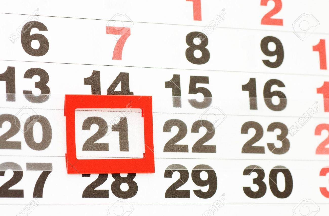 Page Of Calendar Showing Date Of Today Stock Photo, Picture And ...
