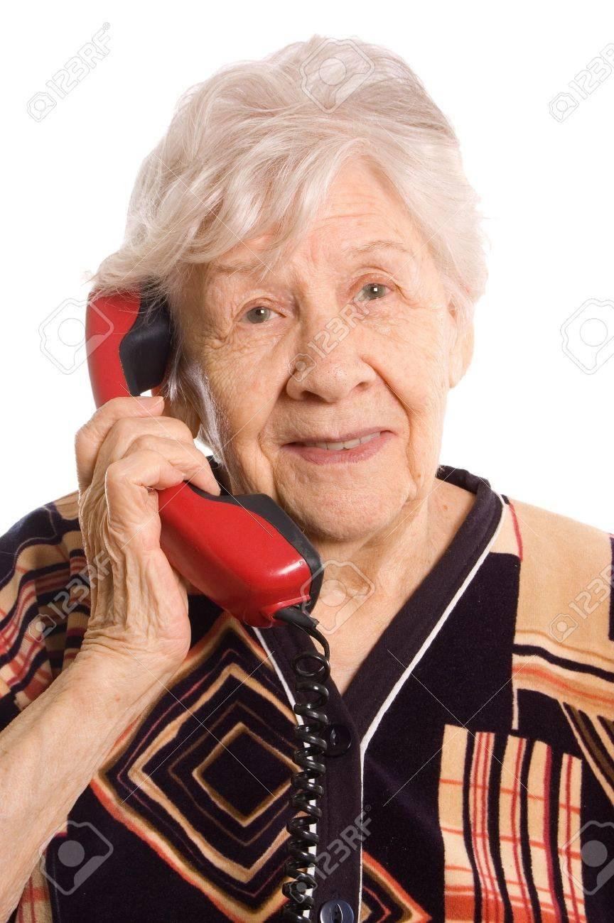 Elderly woman speaks on the phone Stock Photo - 9457915