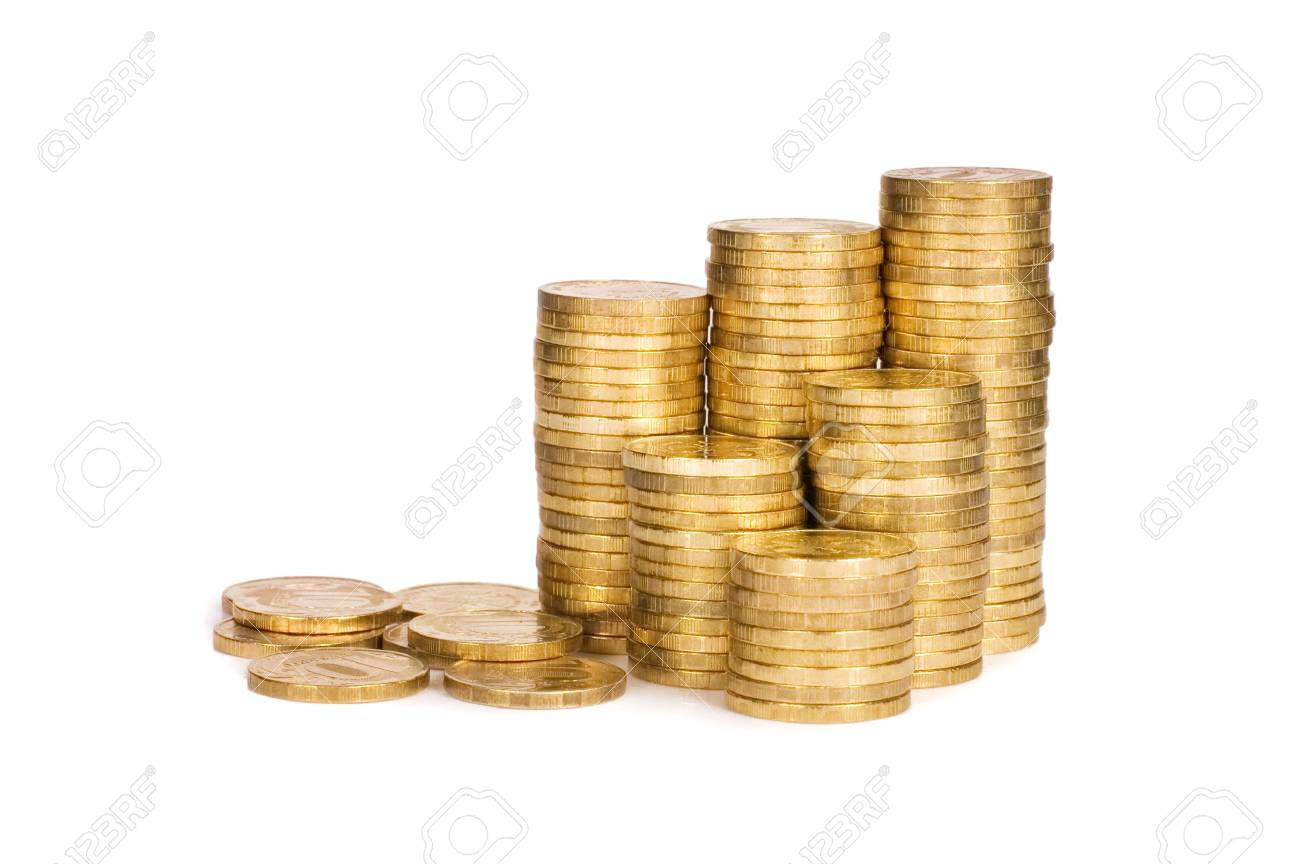 Golden coins isolated on white background Stock Photo - 9773904