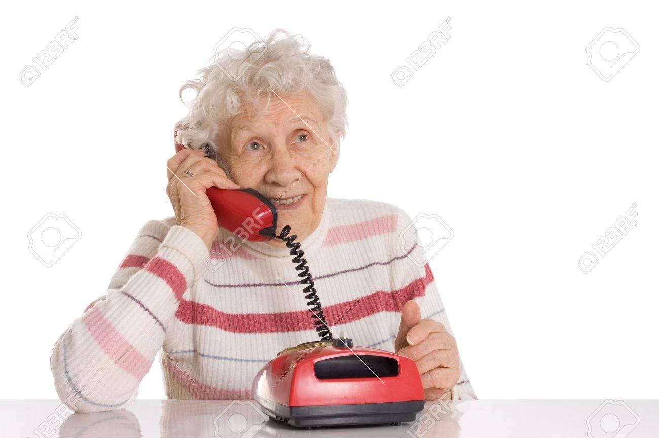 The elderly woman speaks on the phone Stock Photo - 9921638