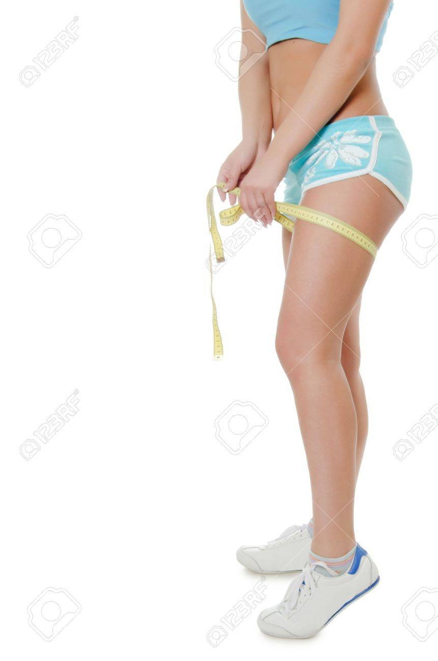 The girl in shorts with a tape Stock Photo - 9922114
