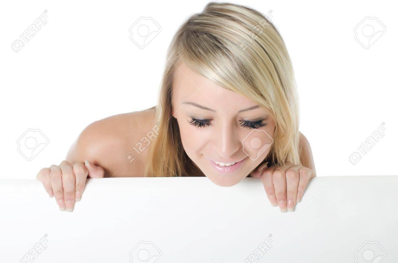 Portrait of woman holding a blank billboard Stock Photo - 10128734