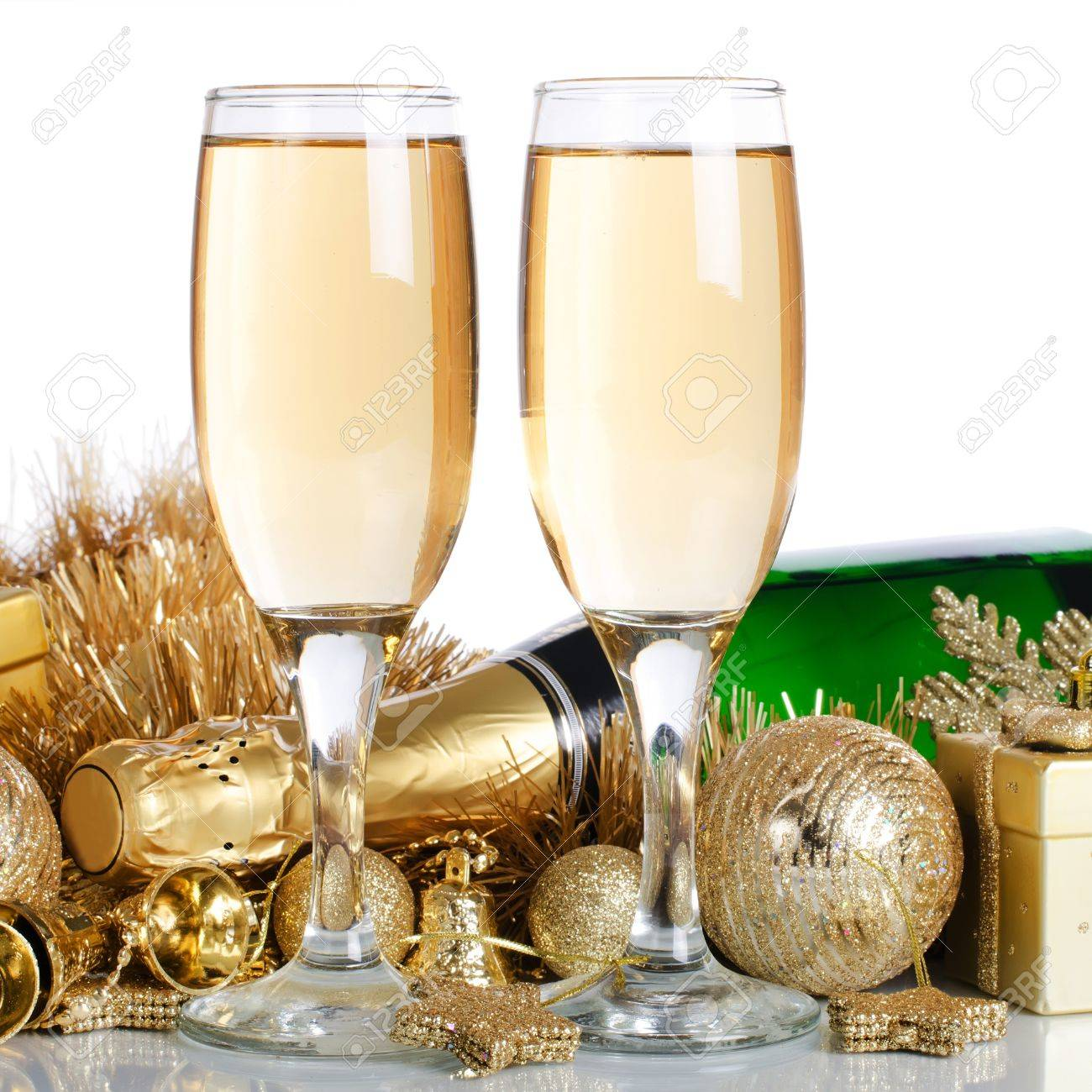 Champagne with Christmas ornaments Stock Photo - 11313962