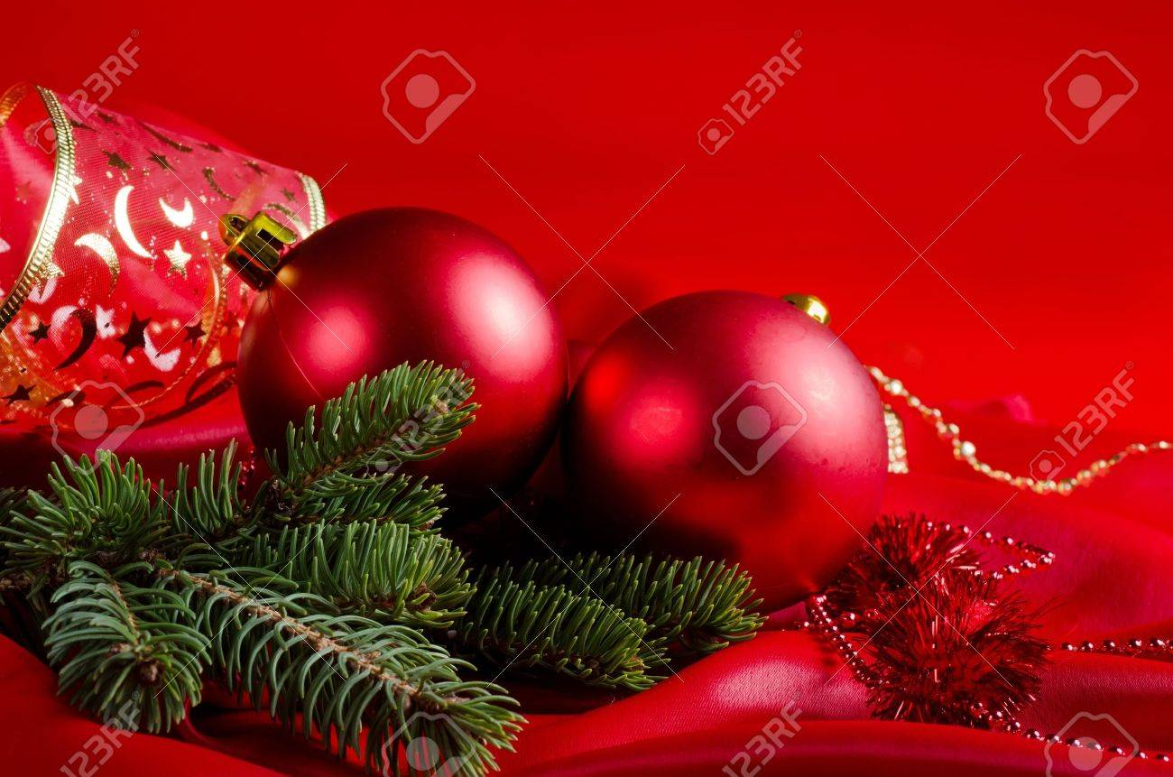 New Year's spheres on a red fabric Stock Photo - 11313993