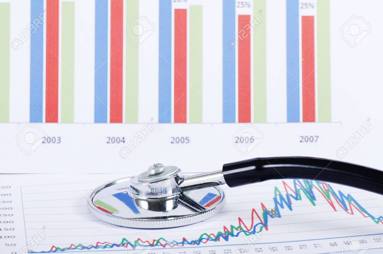 Stethoscope on stock chart - market analysis Stock Photo - 12457849