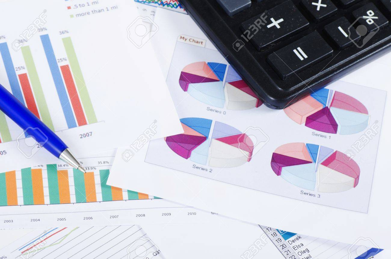 Business the newspaper with chart Stock Photo - 12458515