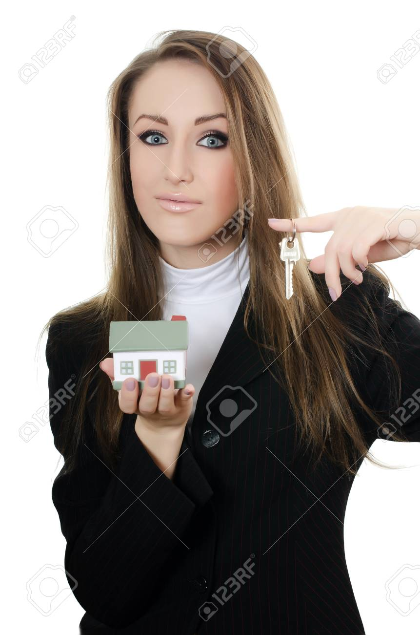 Business woman with small model of house Stock Photo - 13079032