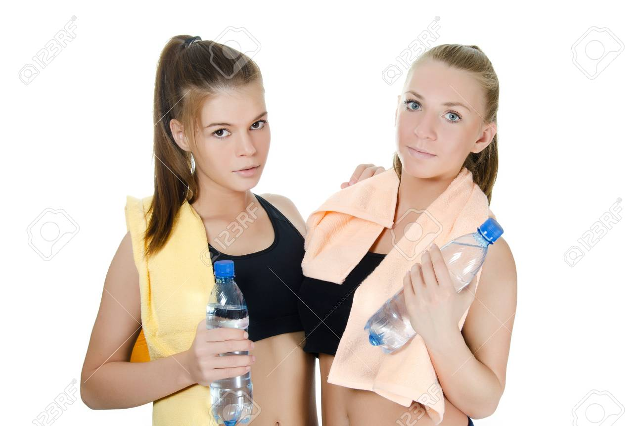 Two  sports woman  isolated on white  background Stock Photo - 13077580