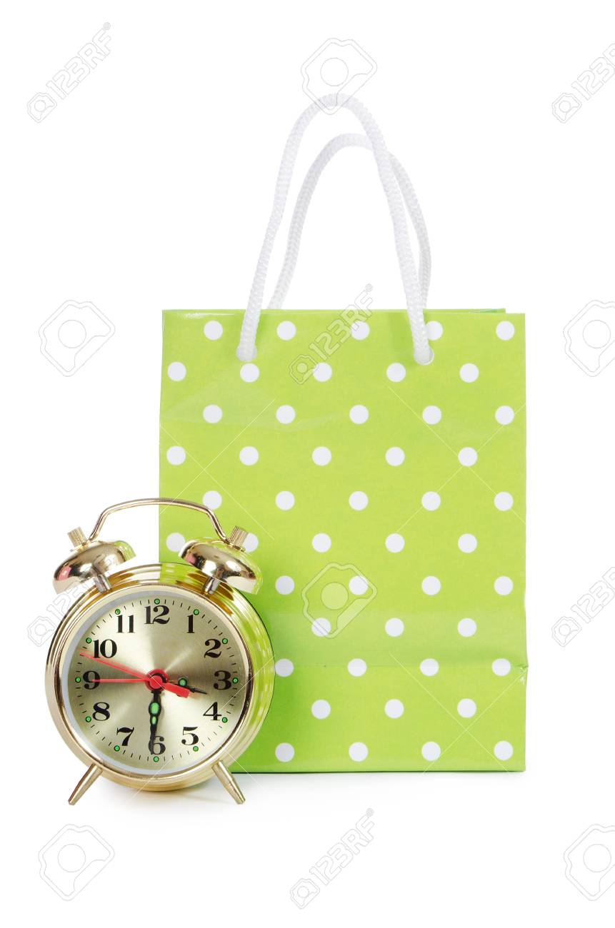 Beautiful package with an alarm clock isolated Stock Photo - 14047926