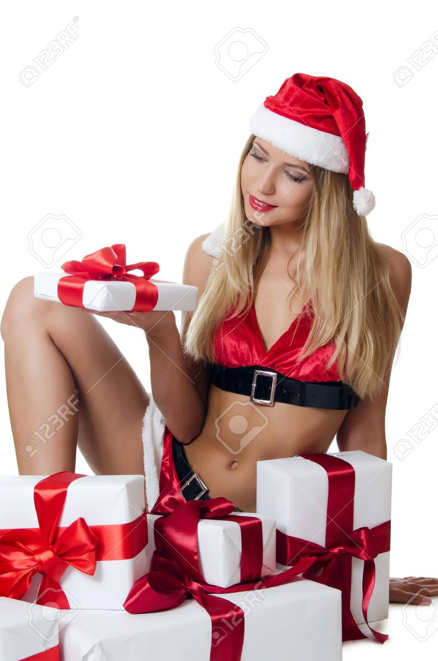 The Christmas girl with boxes of gifts Stock Photo - 14856870