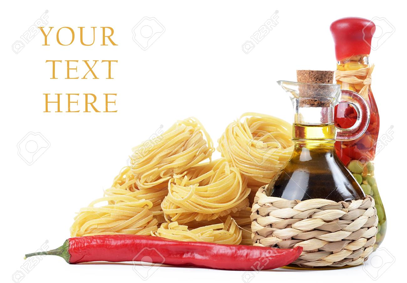 Pasta with olive oil isolated on white Stock Photo - 17405156