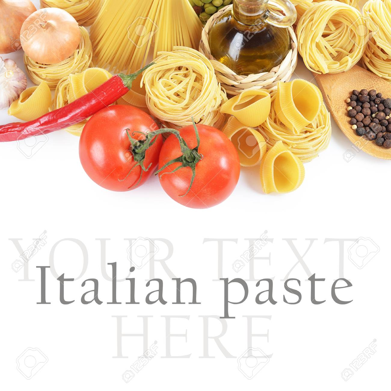Pasta with spices and vegetables  on white Stock Photo - 17405111