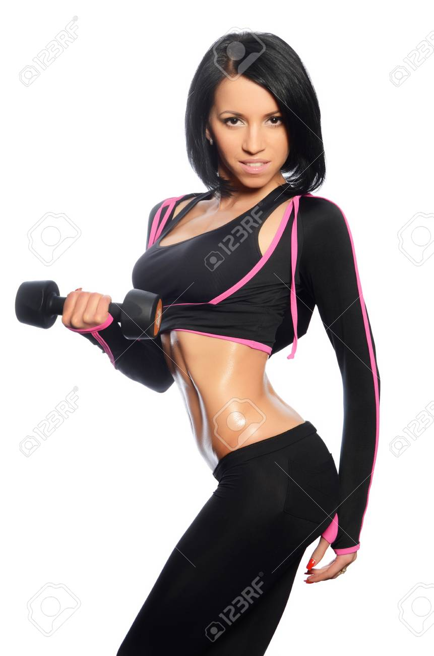 The woman with beautiful body with dumbbells Stock Photo - 19262142