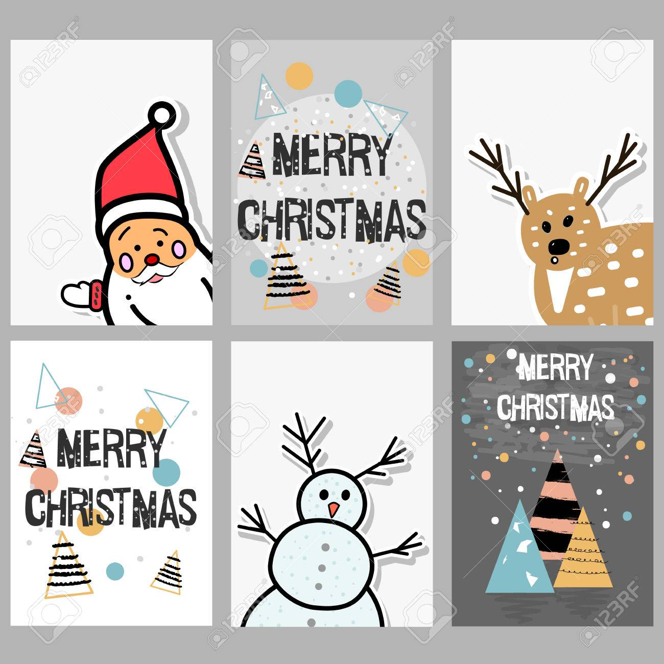 Set Of Christmas Cards With Funny, Cute Characters And Hand Drawn ...