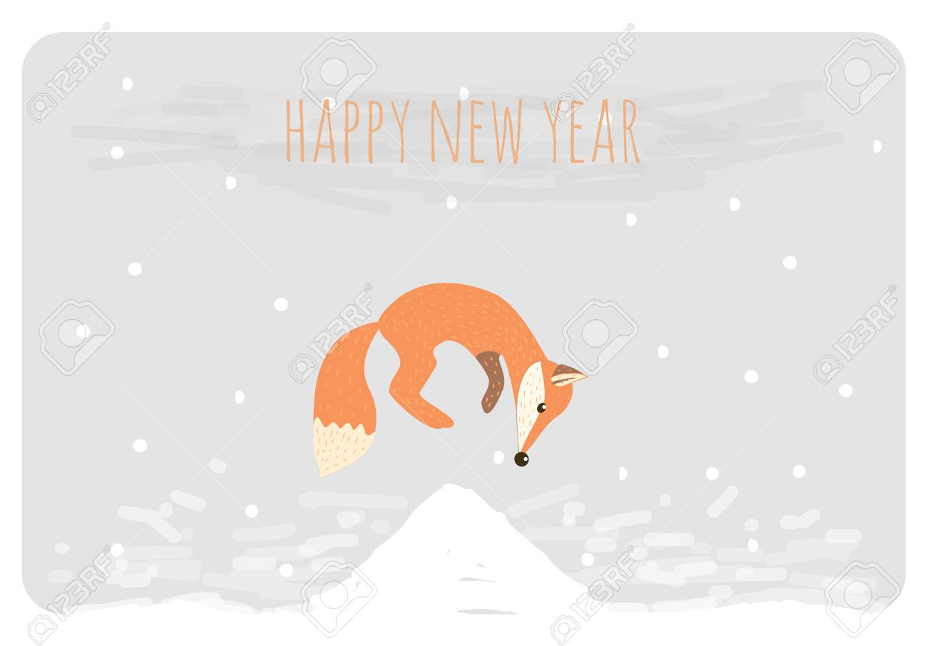 christmas and happy new year card funny cartoon fox jumping stock