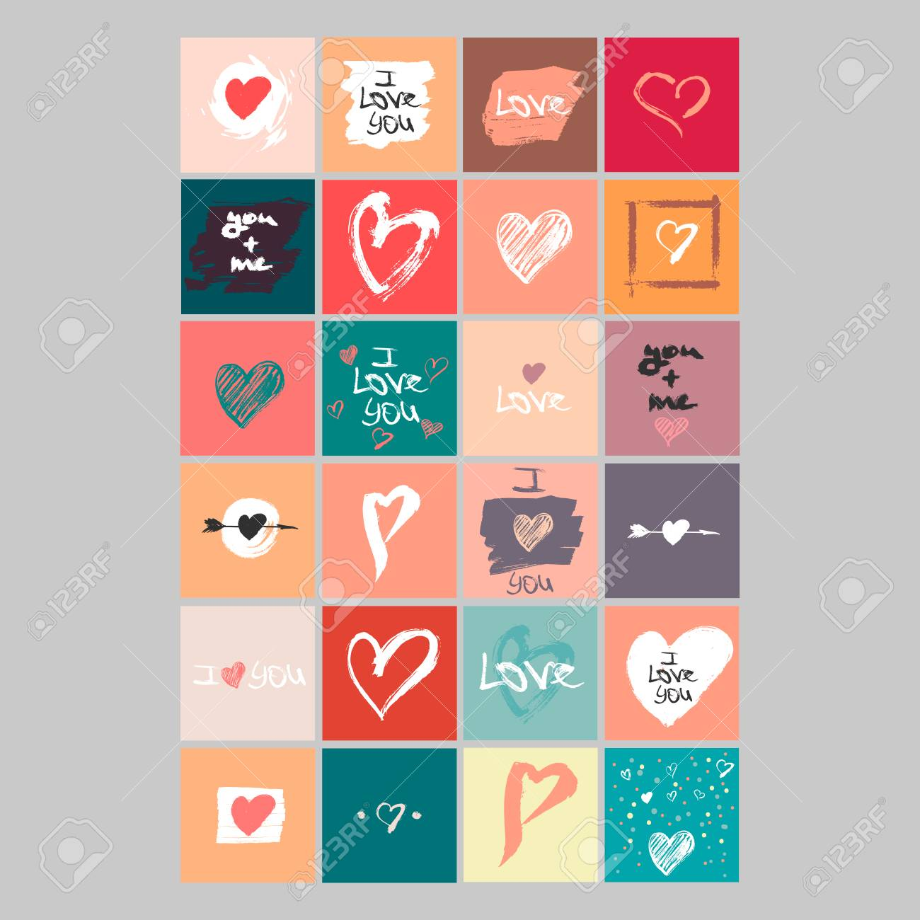 photograph about Happy Valentines Day Printable called Vector selection of 24 lovely Valentines playing cards. Printable template..