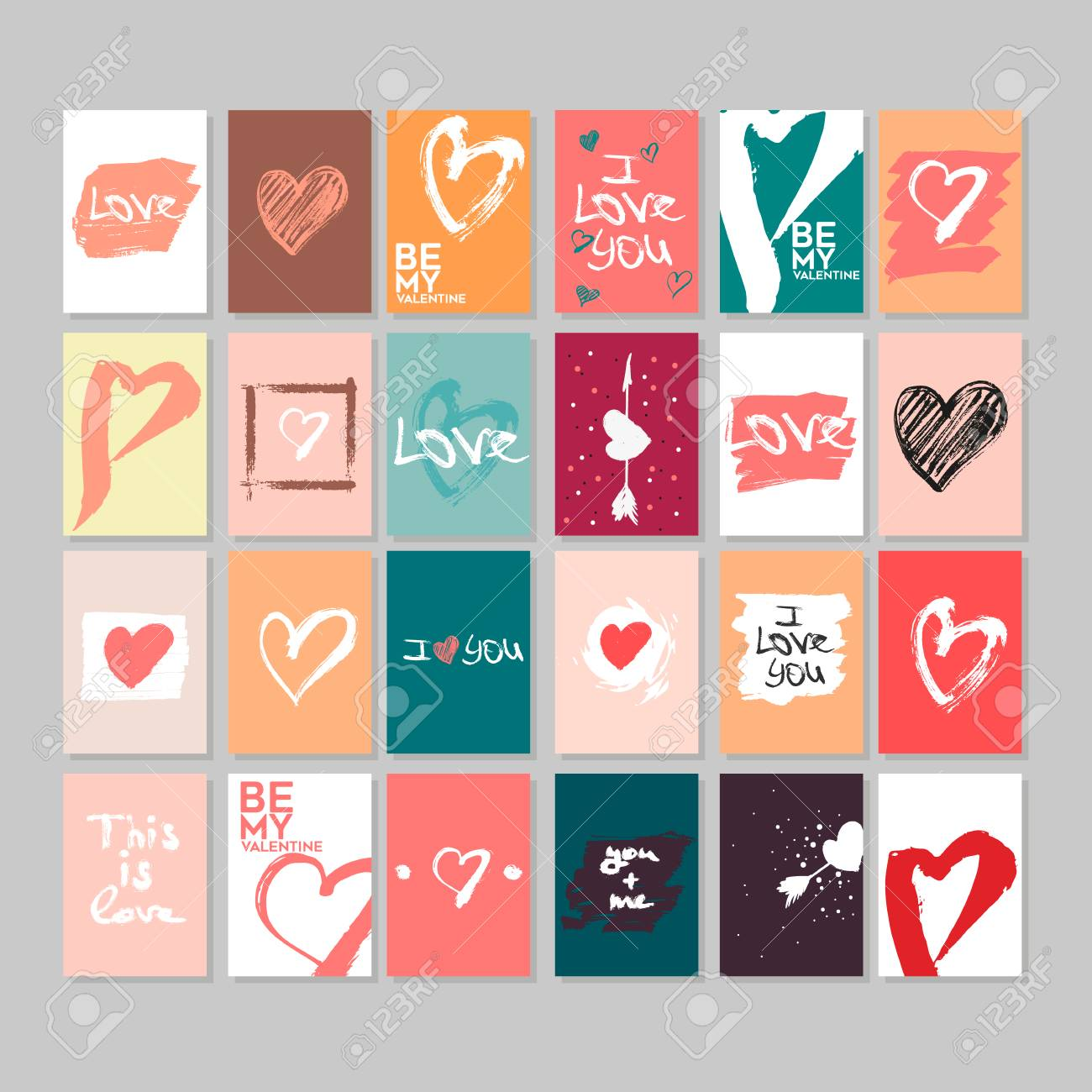 photo relating to Happy Valentines Day Printable identify Vector range of 24 adorable Valentines playing cards. Printable template..