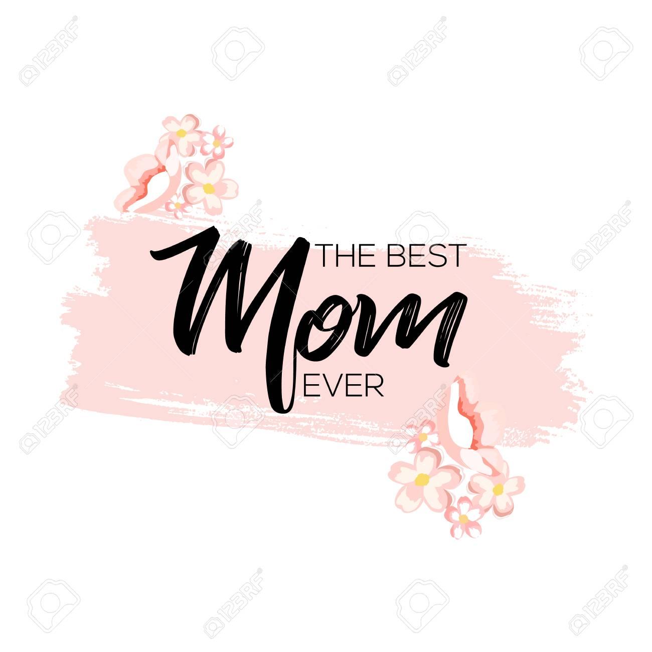 Muttertag Grußkarte Mit Blumen Und Pinsel Malen Hintergrund