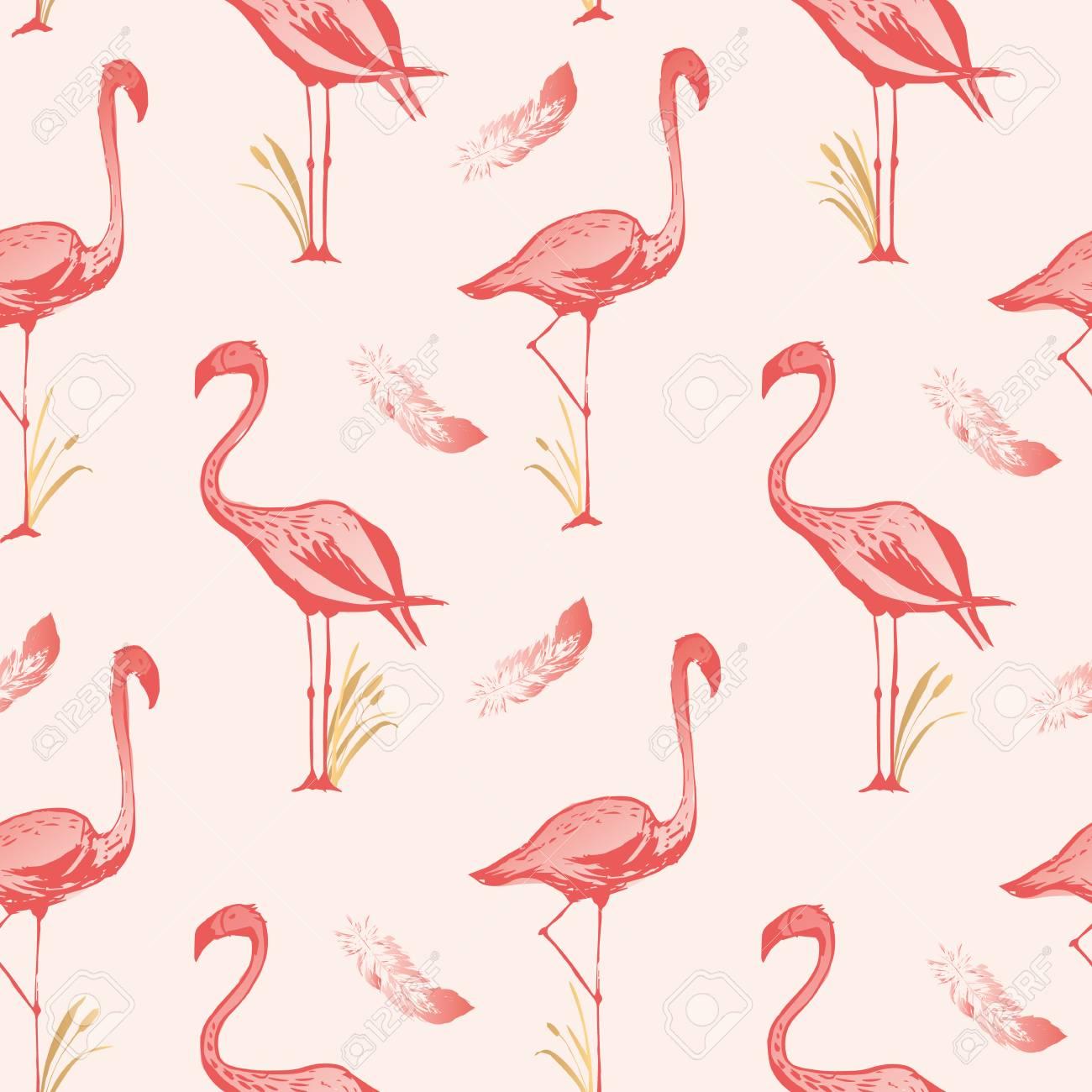 Flamingo De Patrones Sin Fisuras. Diseño De Fondo De Vector Con ...