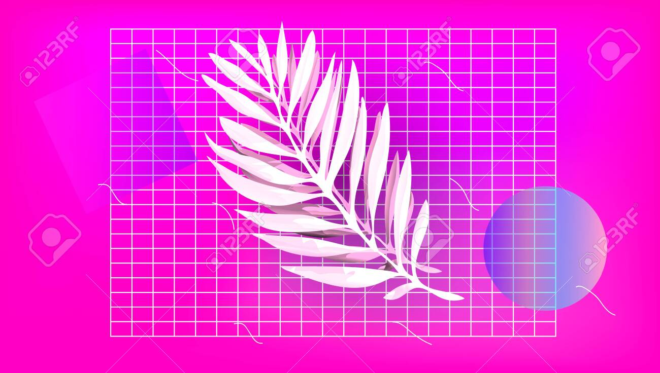 Palm Leaf With Abstract Shapes On The Pink Background Vaporwave