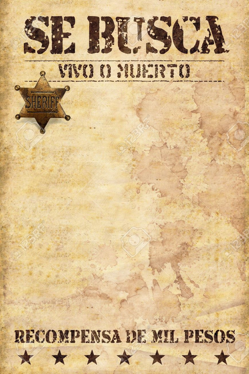 Wild West Poster With Spanish Words Stock Photo Picture And Royalty