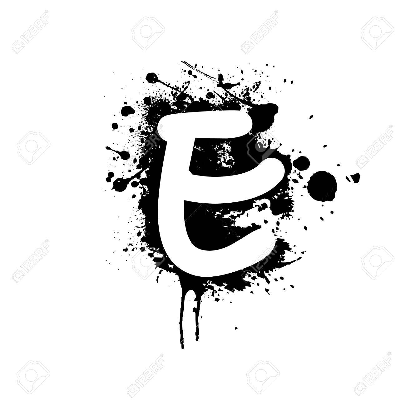 Letter E With Ink Splat Effect Stock Photo