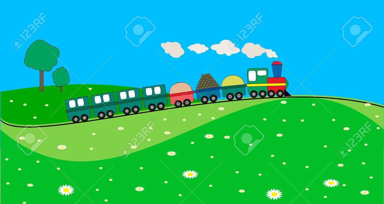 landscape with train Stock Vector - 5419443