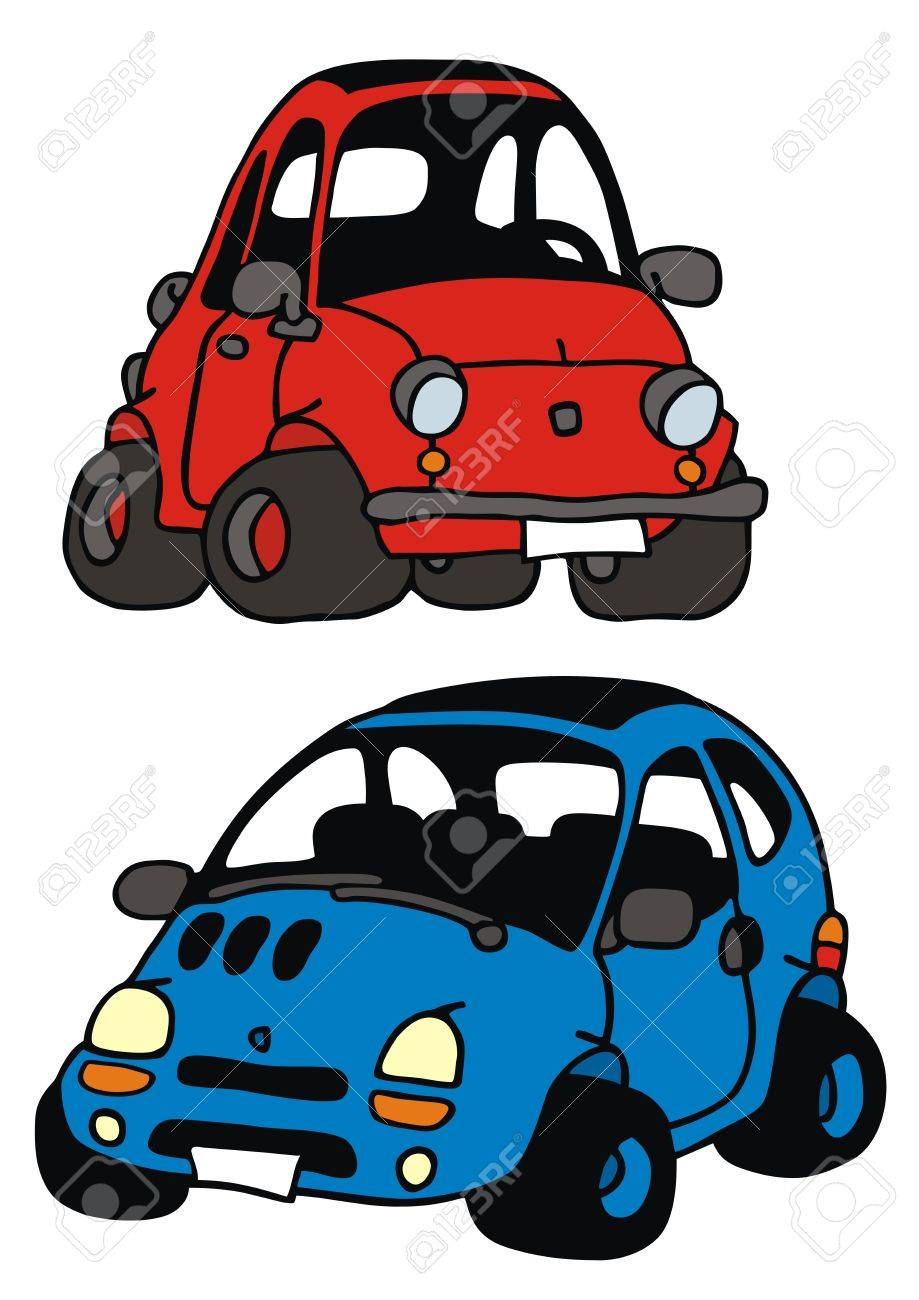 hand drawing of two funny little cars Stock Vector - 22199605