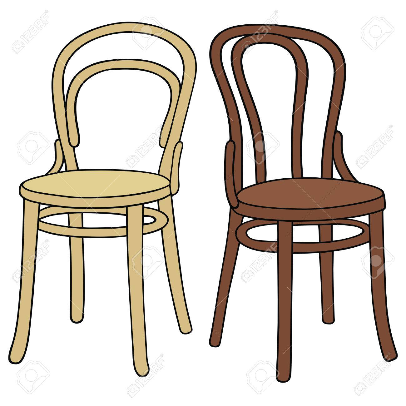 Hand Drawing Of Two Classic Wooden Chairs Royalty Free Cliparts