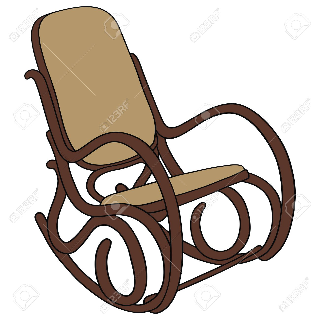 Hand Drawing Of Old Wooden Rocking Chair Royalty Free Cliparts