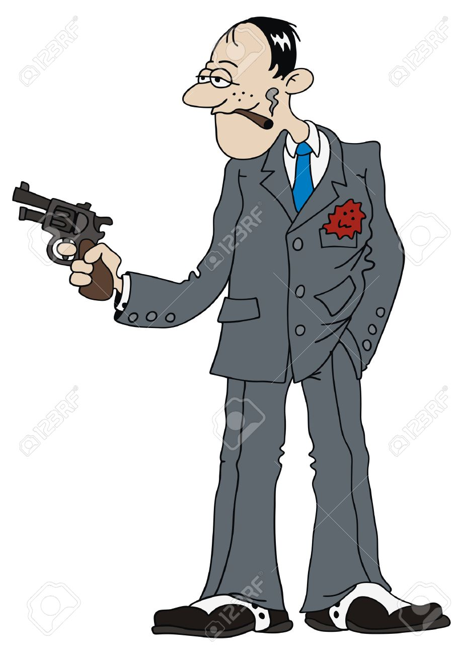 hand drawing of gangster with hand gun Stock Vector - 22650051