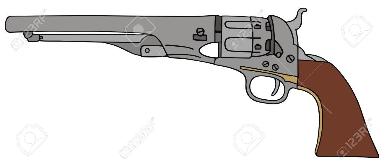 dibujo a mano de la pistola de la mano del salvaje oeste clásico
