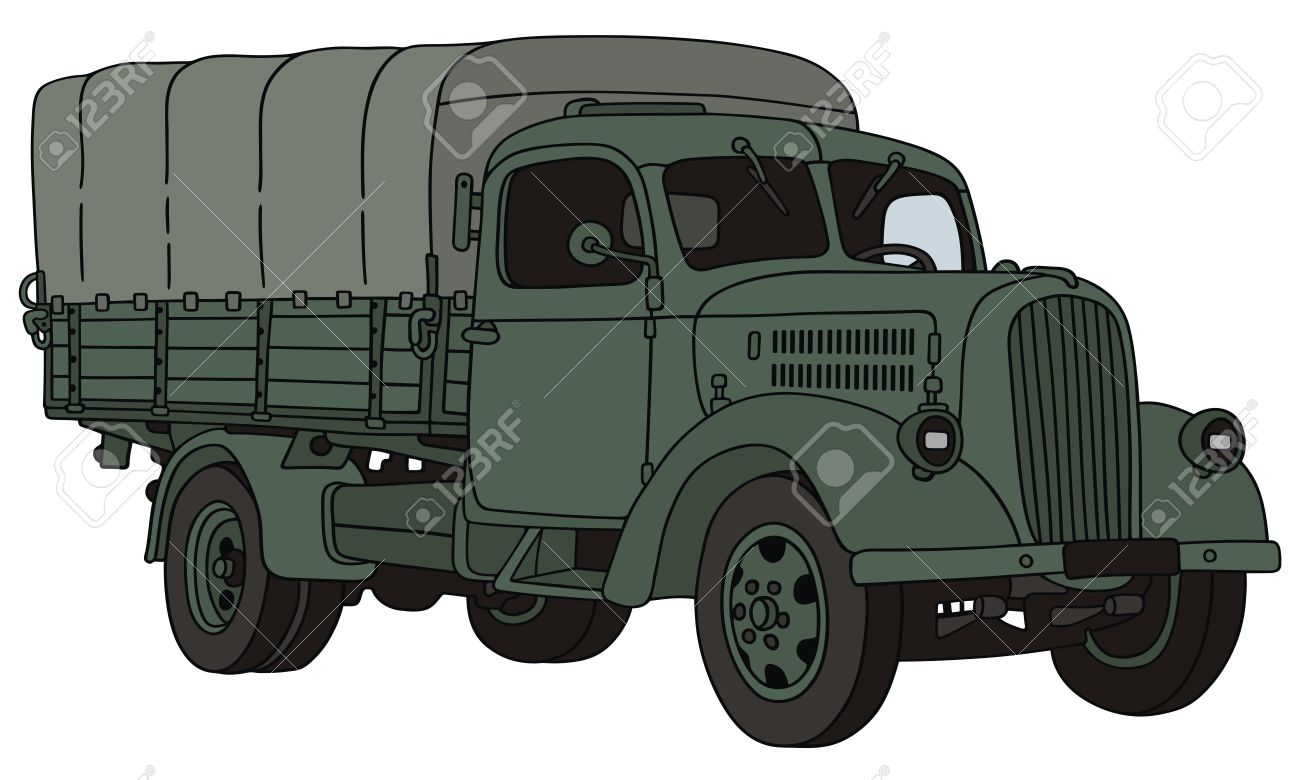 hand drawing of old military truck Stock Vector - 23321736