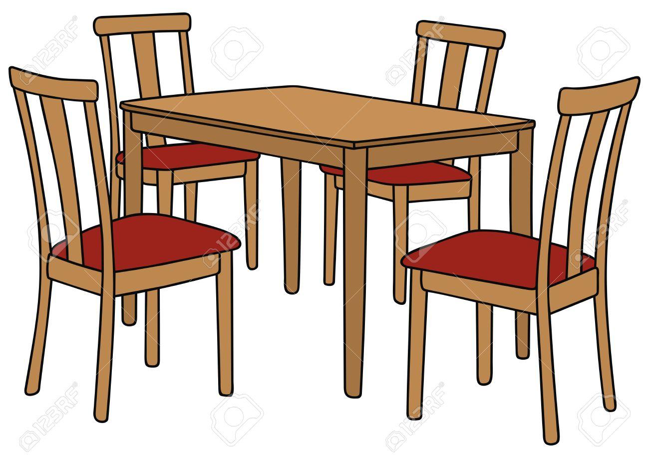 Dessin A La Main Dune Table Et Quatre Chaises Clip Art Libres De