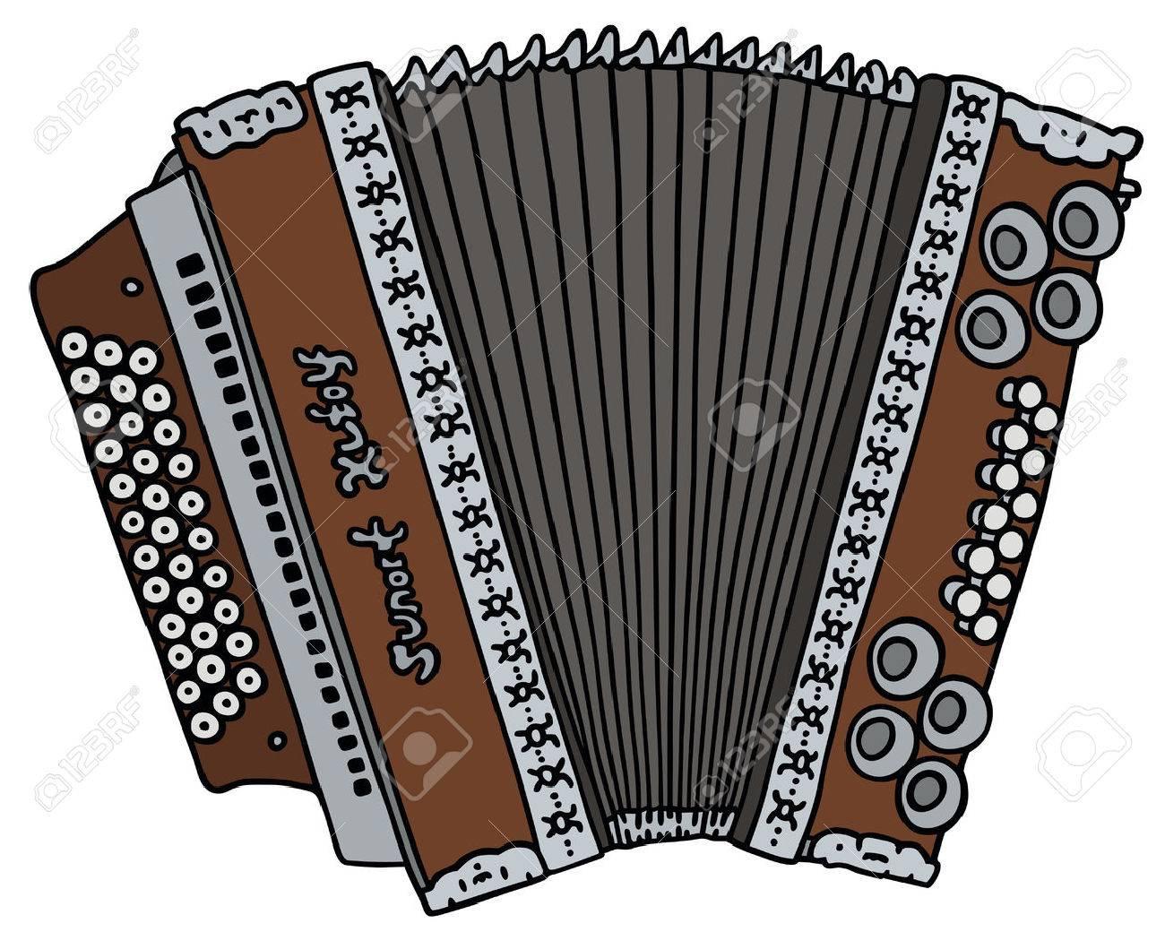 Dessin Accordéon dessin à la main d'un accordéon vieux clip art libres de droits