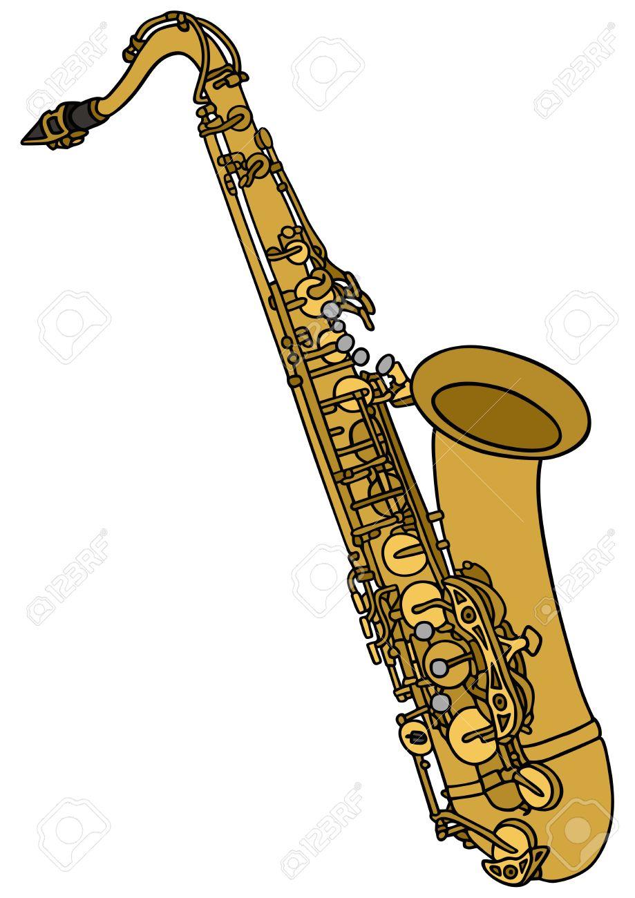Dessin Saxophone dessin à la main d'un saxophone clip art libres de droits , vecteurs