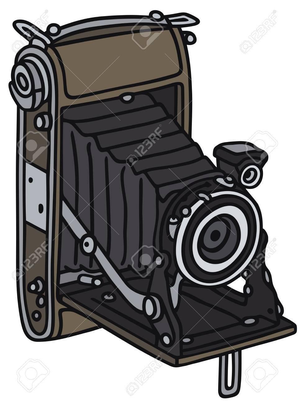 Dessin Appareil Photo dessin à la main d'un appareil photo antique avec soufflet - pas un