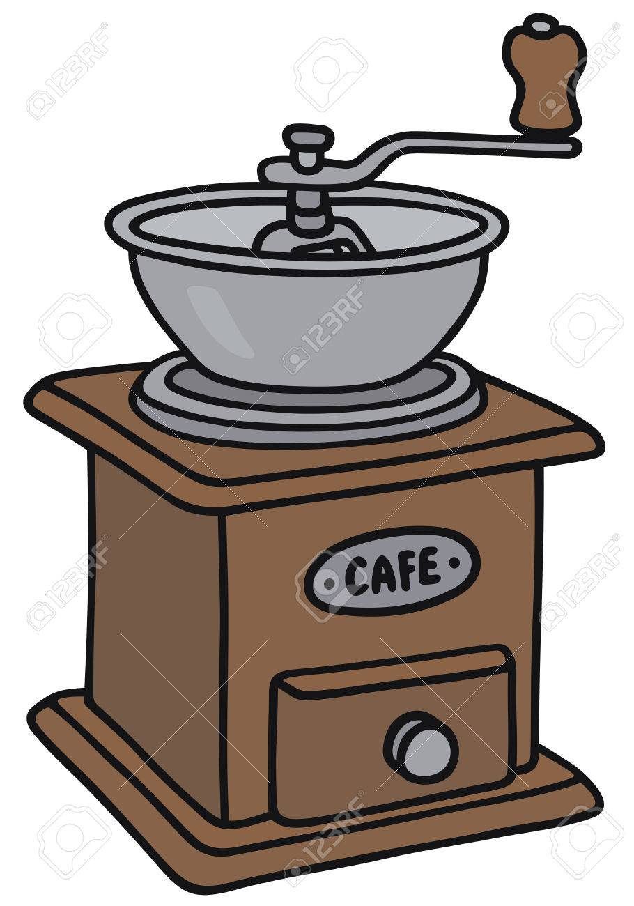 hand drawing of a vintage coffee grinder royalty free cliparts rh 123rf com
