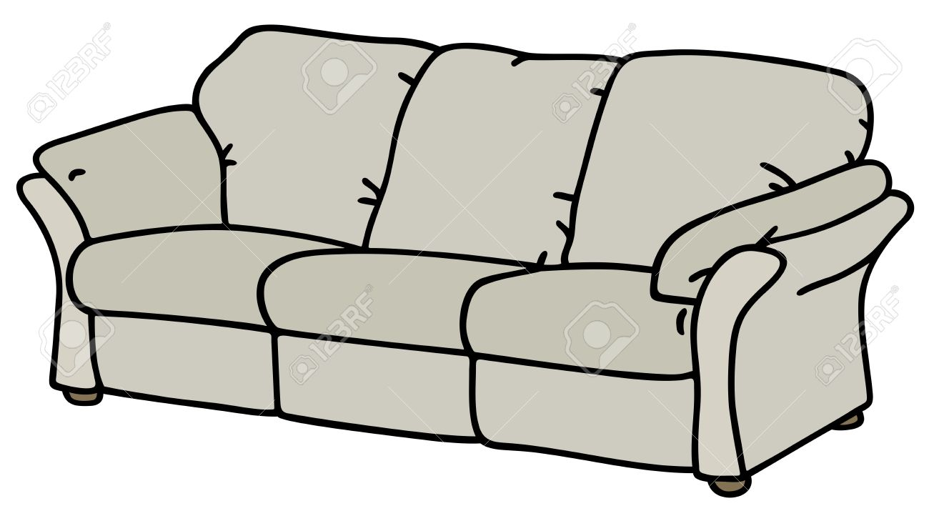Couch Drawing hand drawing of a white sofa royalty free cliparts, vectors, and