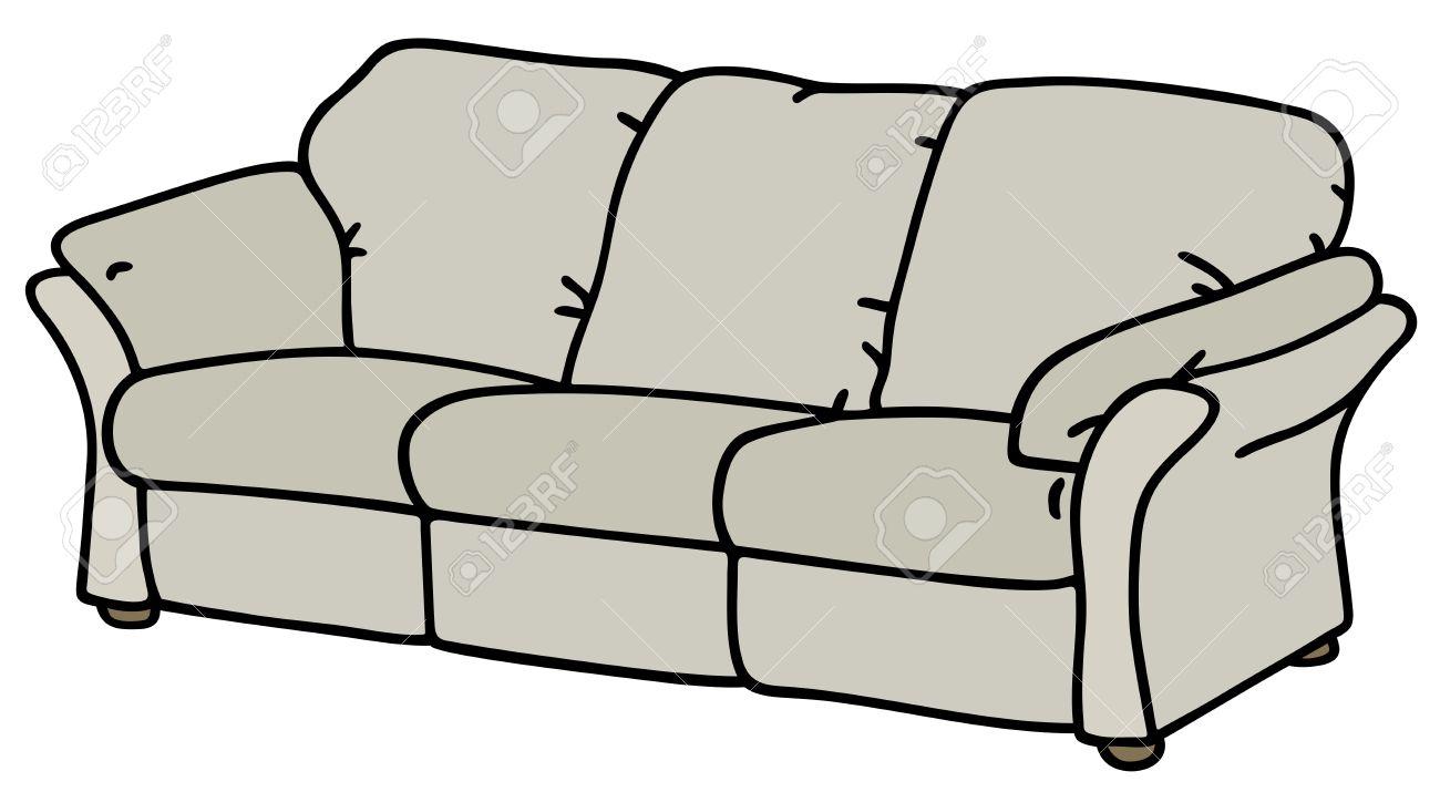 dessin à la main d'un canapé blanc clip art libres de droits