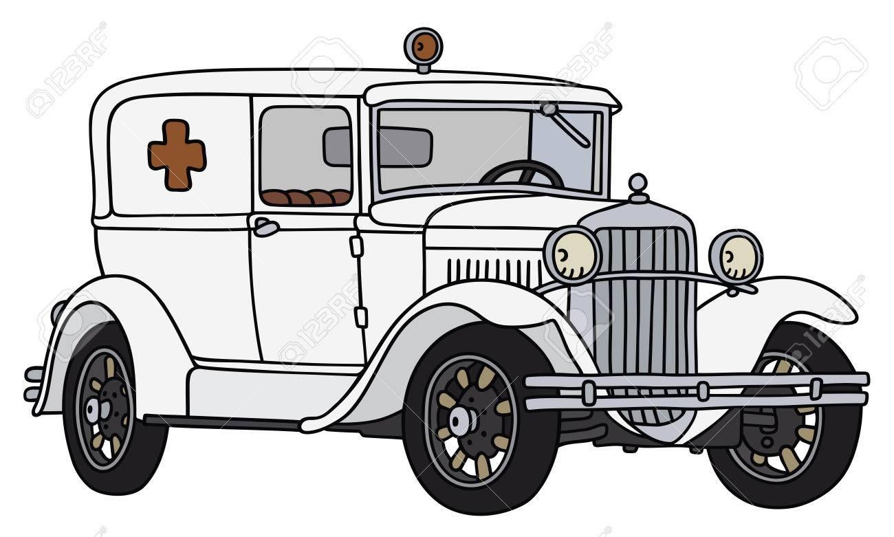 Ambulance Car Drawing of a Vintage Ambulance Car