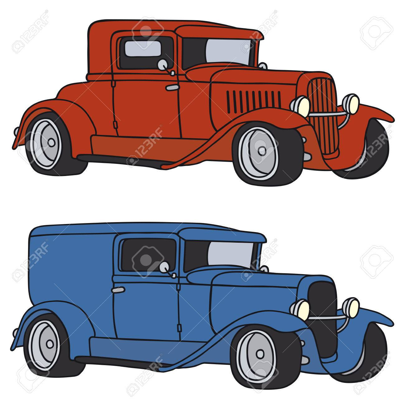 Hand Drawing Of Two Funny Vintage Cars - Any Real Types Royalty Free ...