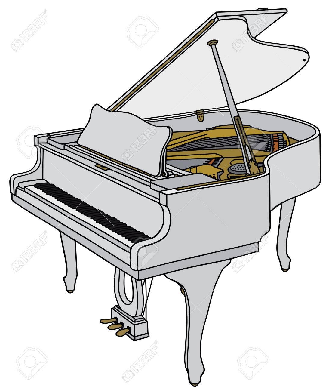 Dessin De Piano dessin à la main d'un piano à queue blanche ouverte clip art libres
