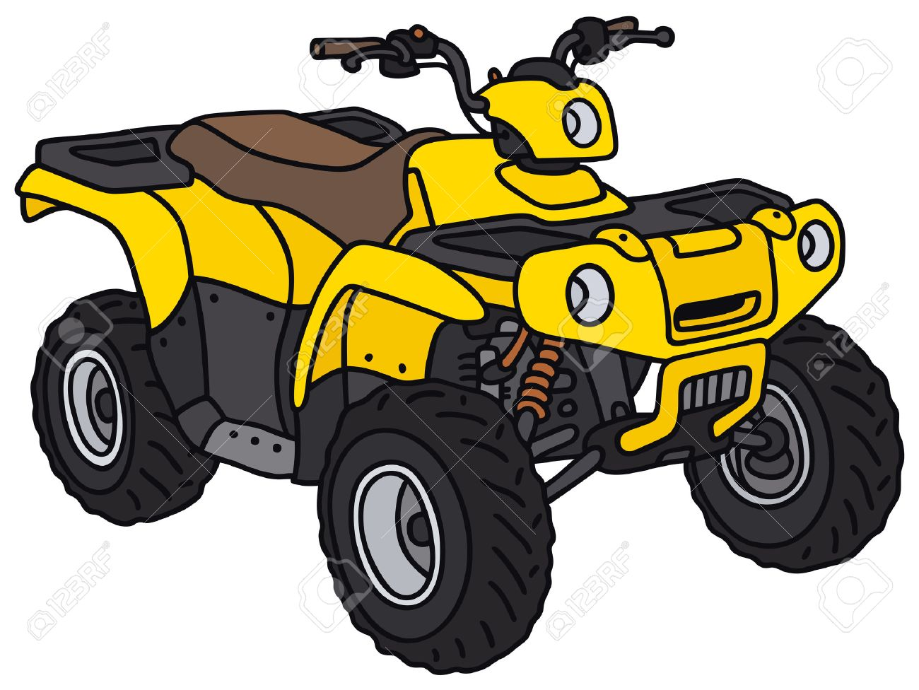 hand drawing of a funny yellow atv not a real model royalty free rh 123rf com atv cartoon clip art atv clip art images