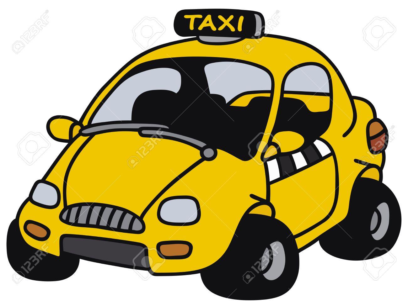 Dessin A La Main D Un Taxi Jaune Drole Pas Un Vrai Modele Clip Art Libres De Droits Vecteurs Et Illustration Image 35456235