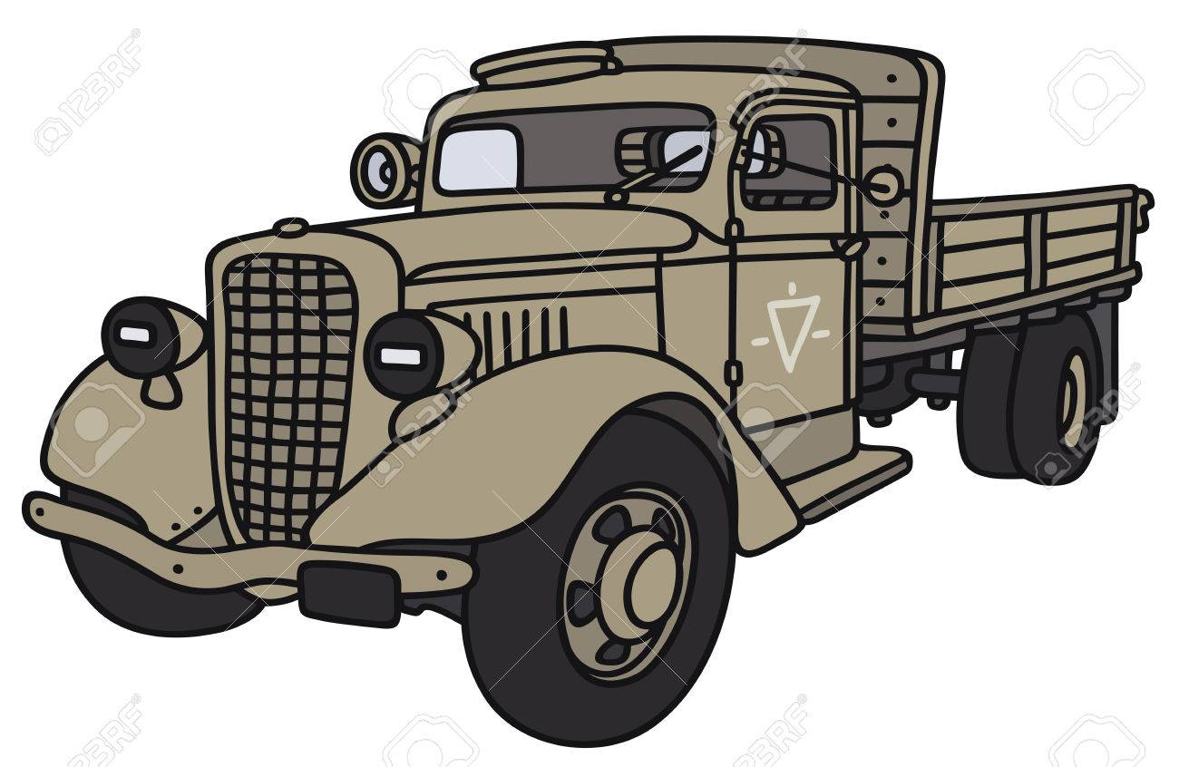 hand drawing of a classic military truck not a real model
