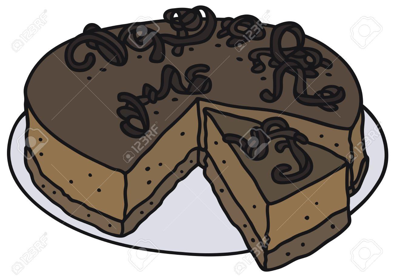 Banque d\u0027images , Dessin à la main d\u0027un gâteau au chocolat